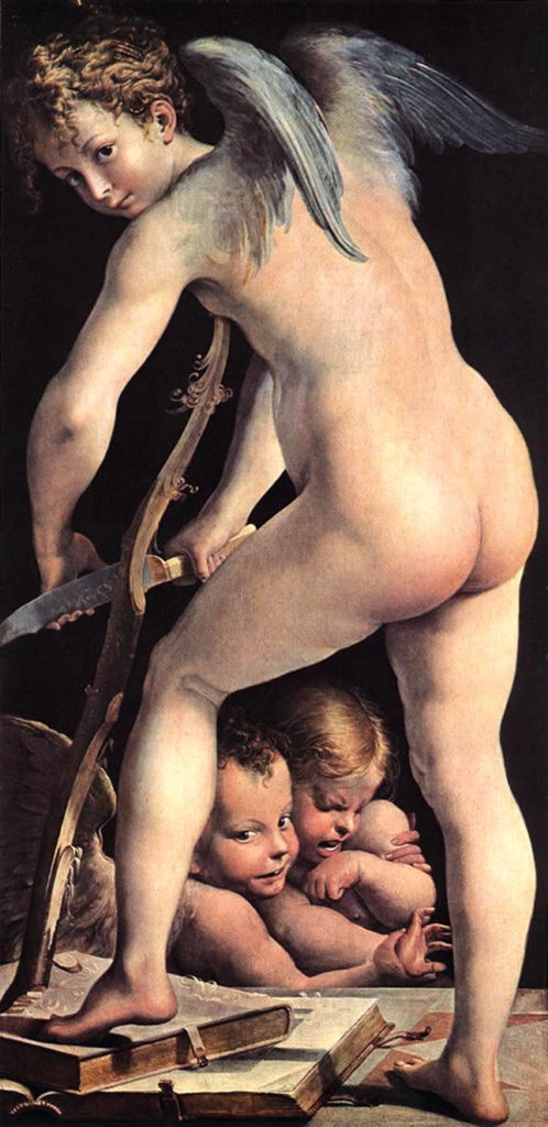 Cupid carving his bow -- Parmigianino