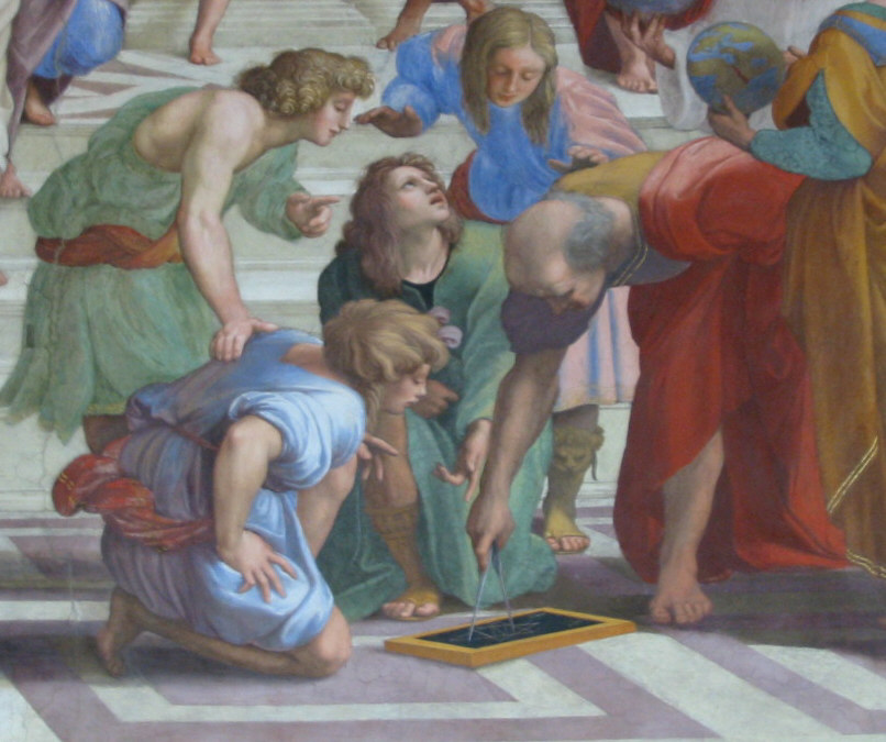 Euclid detail from The School of Athens painting by Raphael